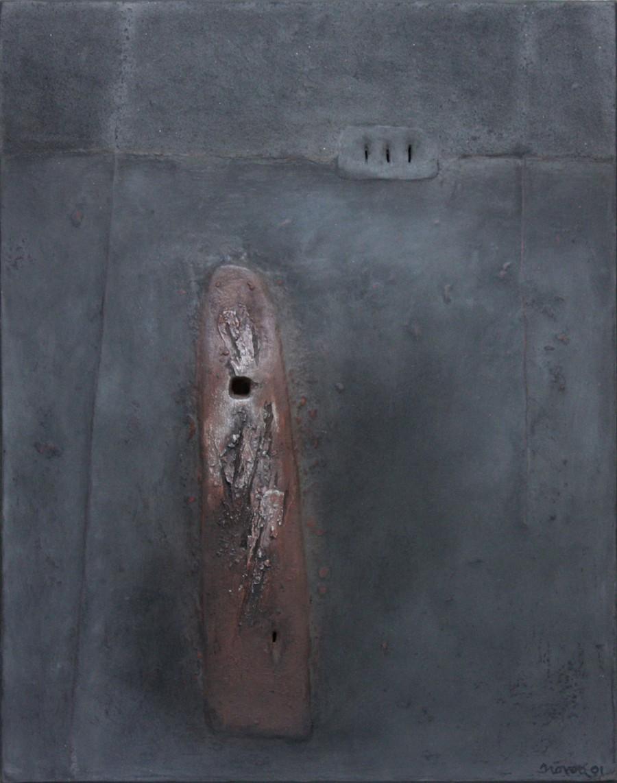 Grande forme verticale rouge à 2 trous, de  Leopoldo Nóvoa