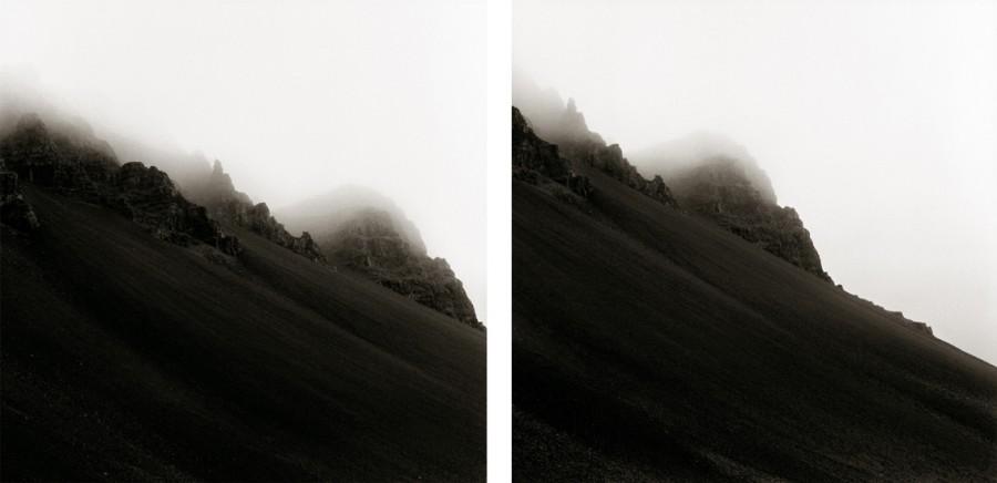 Montaña negra. Nube blanca