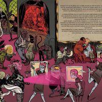 """Páxina dobre 54-55 de """"Caderno de Tormentas"""", de  David Rubín"""